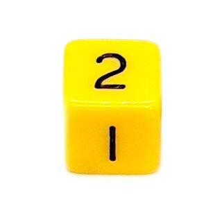 W6 Würfel Gelb-Schwarz mit Zahlen gerade Kanten 15mm
