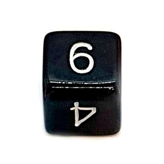 W6 Würfel Schwarz-Weiß mit Zahlen gerade Kanten 15mm