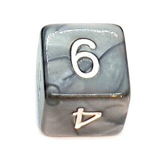 W6 Würfel Grau-Perlmutt mit Zahlen gerade Kanten 15mm