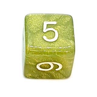 W6 Würfel Grün-Glitter mit Zahlen gerade Kanten 15mm