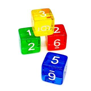 4er Set Würfel Bunt-Transparent Zahlen Gerade Kanten 15mm