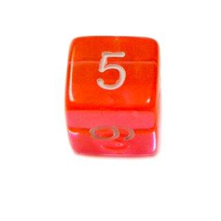 4 Würfel Transparent-Orange Zahlen Gerade Kanten 15mm