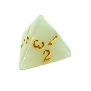 4 Seitige Weiß-Glitter Würfel mit gold Zahlen W4