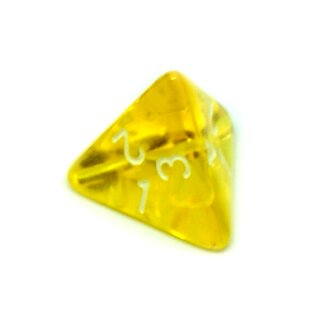 4 Seitige Gelb-Transparente Würfel Zahlen W4