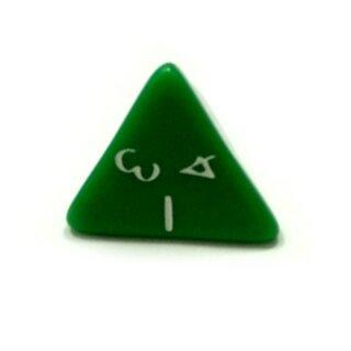 4-Seitige Grün Würfel weiße Zahlen W4