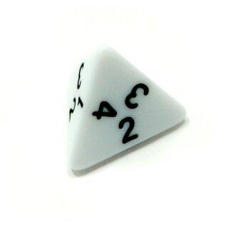 4-Seitige Weiße Würfel schwarze Zahlen W4