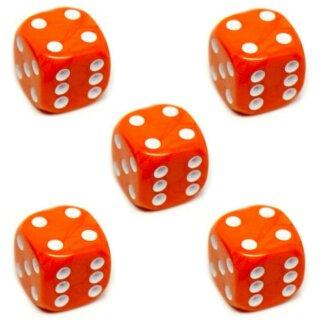 5er Würfel-Set W6-Würfel Orange weiße Punkte 16mm