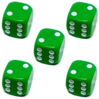 5er Würfel-Set W6-Würfel Grün weiße Punkte 16mm