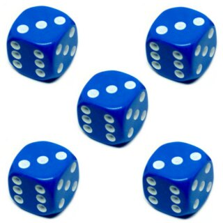 5er Würfel-Set W6-Würfel Blau weiße Punkte 16mm