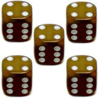5er Würfel-Set W6-Würfel Braun weiße Punkte 16mm