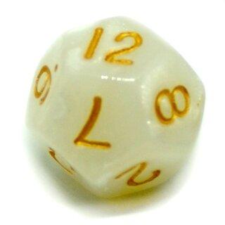 12-Seitiger Würfel Weiß-Glitter goldene Zahlen 1-12