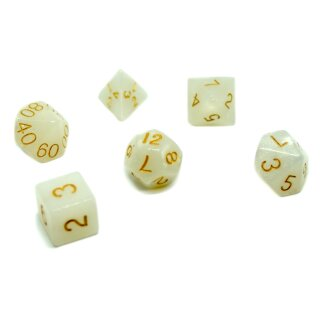 6er Set Sonderwürfel Weiß-Glitzet gold Zahlen