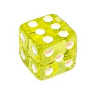 Einzelne Transparent- Gelb Würfel 14mm weiße Punkte W6