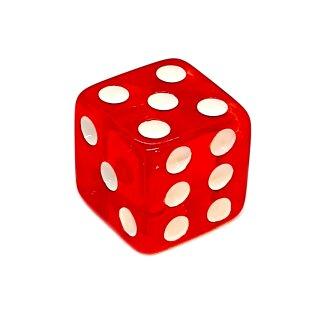 Einzelne Transparent- Rot Würfel 14mm weiße Punkte W6