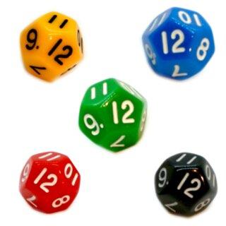 5er Set 12-Seitige Würfel Bunt Zahlen 1-12