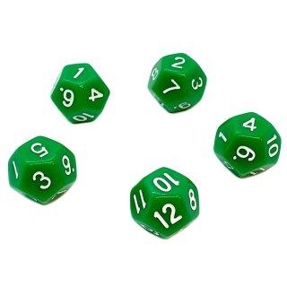 5er Set 12-Seitige Würfel Grün Zahlen 1-12