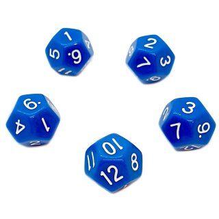 5er Set 12-Seitige Würfel Blau Zahlen 1-12