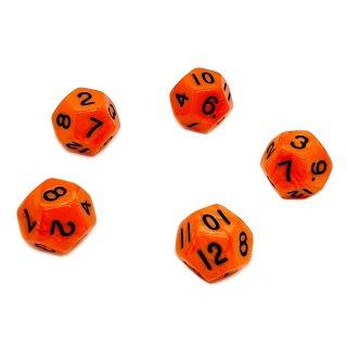 5er Set 12-Seitige Würfel Orange schwarze Zahlen 1-12