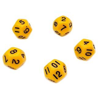 5er Set 12-Seitige Würfel Gelb Zahlen 1-12