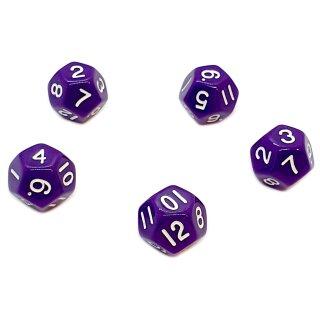 5er Set 12-Seitige Würfel Lila Zahlen 1-12