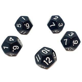 5er Set 12-Seitige Würfel Schwarz Zahlen 1-12