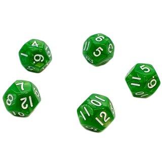 5er Set 12-Seitige Würfel Perlmut Grün Zahlen 1-12