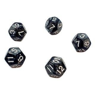 5er Set 12-Seitige Würfel Perlmut Schwarz Zahlen 1-12