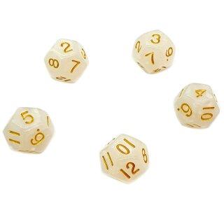 5er Set 12-Seitige Würfel Glitter Weiß Zahlen 1-12
