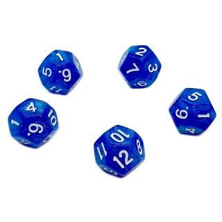 5er Set 12-Seitige Würfel Glitter Blau Zahlen 1-12