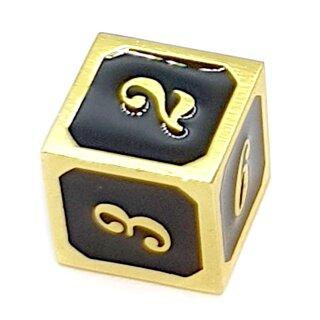 6 Seitiger Metall-Würfel Gold-Schwarz Zahlen