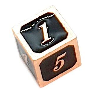 6 Seitiger Metall-Würfel Kupfer-Schwarz Zahlen