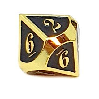 10 Seitiger Metall-Würfel Gold-Schwarz mit Zahlen 0-9