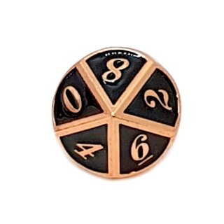 10 Seitiger Metall-Würfel Kupfer-Schwarz mit Zahlen 0-9