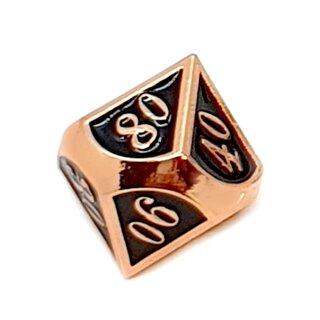 10 Seitiger Metall-Würfel Kupfer-Schwarz mit Zahlen 00-90