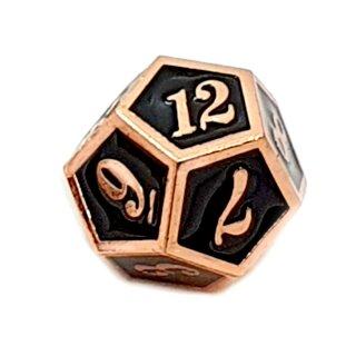 12 Seitiger Metall-Würfel Kupfer-Schwarz mit Zahlen 1-12