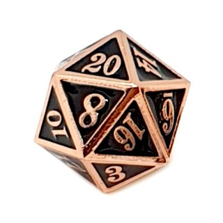 20 Seitiger Metall-Würfel Kupfer-Schwarz mit Zahlen 1-20