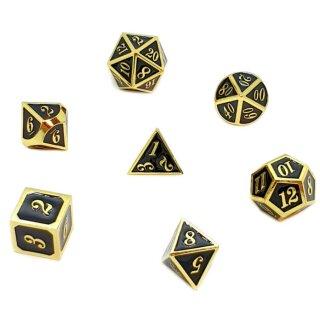 7er Set Metall-Würfel Gold-Schwarz mit Zahlen W4-W20