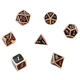 7er Set Metall-Würfel Kupfer-Schwarz mit Zahlen W4-W20