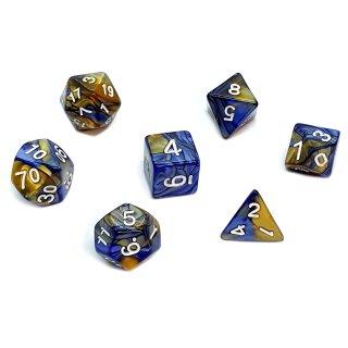 7er Würfelset 4-20 Seitig 2Farbig Blau mit Gold