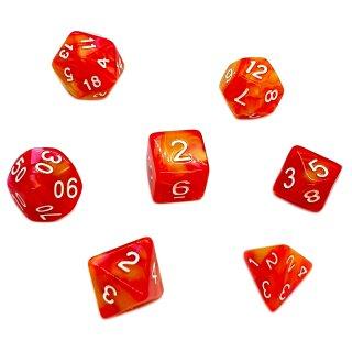 7er Würfelset 4-20 Seitig 2Farbig Rot-Orange mit Gelb