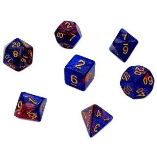 7er Würfelset 4-20 Seitig 2Farbig Galaxy Glitter Blau_Violett_Gold