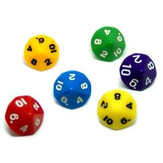 6er Set 10-Seitige Würfel im Farbmix mit den Ziffern 1-10.