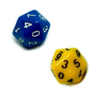 Sonderwürfel-Set 20-Seitig Blau/Gelb mit zwei * 0-9