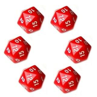 6er Set  20-Seitiger Würfel in Rot mit Zahlen 1-20