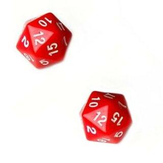 2er Set 20-Seitiger Würfel in Rot mit Zahlen