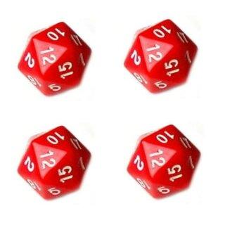 4er Set 20-Seitiger Würfel in Rot mit Zahlen 1-20