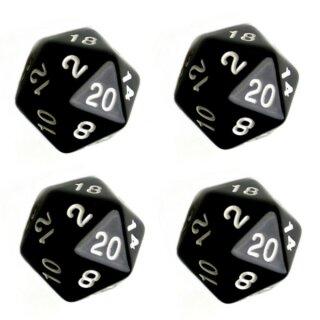 4er Set 20-Seitiger Würfel in Schwarz mit Zahlen