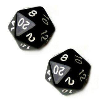 2er Set 20-Seitiger Würfel in Schwarz mit Zahlen