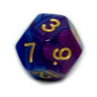 12 Seitige 2Farbige Würfel von in Blau-Violett W12
