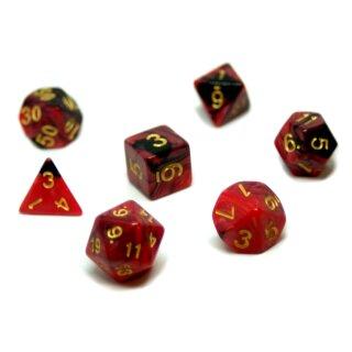 7er Würfelset 4-20 Seitig 2Farbig Rot-Schwarz